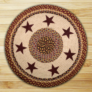"27"" Burgundy Star Braided Jute Round Rug"