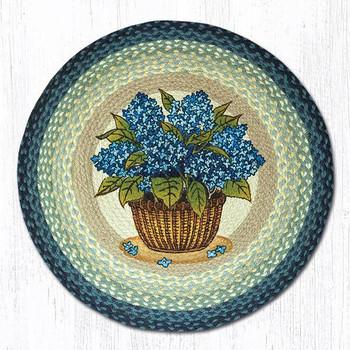 "27"" Blue Hydrangea Flowers Braided Jute Round Rug By Phyllis Stevens"