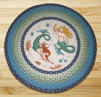 "27"" Mermaids Braided Jute Round Rug by Harry W Smith"