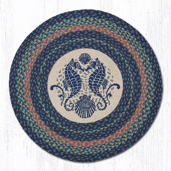 "27"" Sea Shells and Seahorses Braided Jute Round Rug by Sandy Clough"