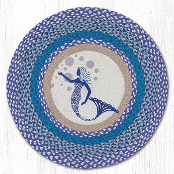 """27"""" Blue Mermaid Braided Jute Round Rug by Susan Burd"""