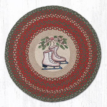 "27"" Ice Skates Braided Jute Round Rug"