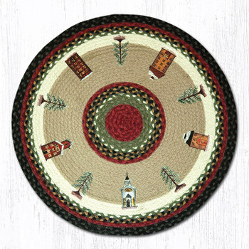 "27"" Winter Village Braided Jute Round Rug"
