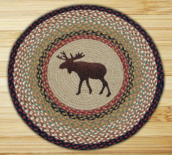 "27"" Moose Braided Jute Round Rug"