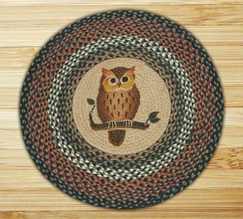"27"" Cute Owl Braided Jute Round Rug"