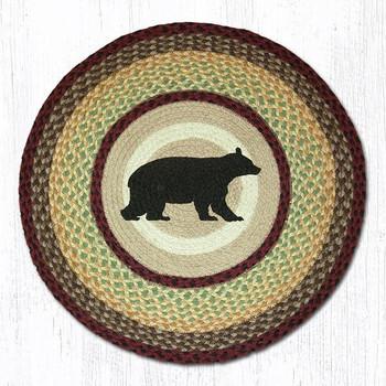 "27"" Cabin Bear Braided Jute Round Rug"