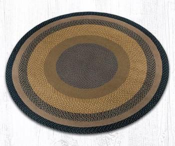 5.75' Brown Black Charcoal Braided Jute Round Rug