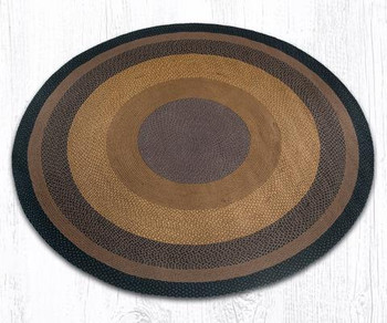 7.75' Brown Black Charcoal Braided Jute Round Rug