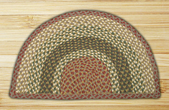 "18"" x 29"" Olive Burgundy Gray Braided Jute Slice Rug"