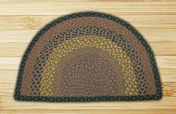 "18"" x 29"" Brown Black Charcoal Braided Jute Slice Rug"