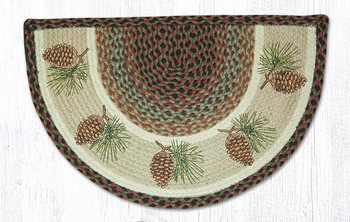 "18"" x 29"" Pinecones Braided Jute Slice Rug"
