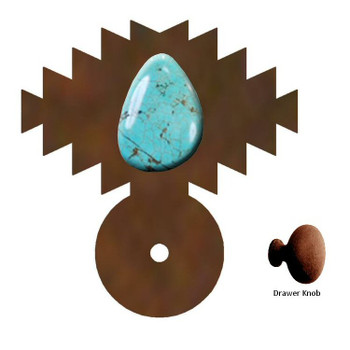 Desert Turquoise Stone Metal Drawer Pull with Back Plate