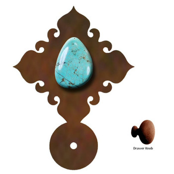 Turquoise Stone Metal Drawer Pull with Back Plate