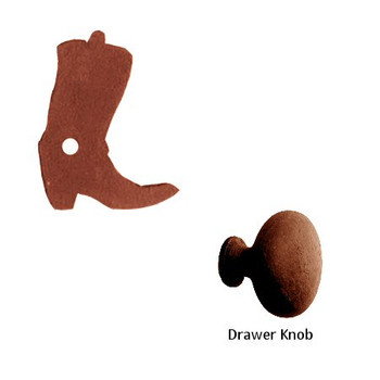 Cowboy Boot Metal Drawer Pull with Back Plate