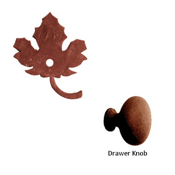 Maple Leaf Metal Drawer Pull with Back Plate