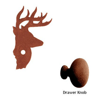 Deer Metal Drawer Pull with Back Plate