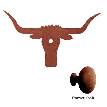 Longhorn Steer Metal Drawer Pull with Back Plate