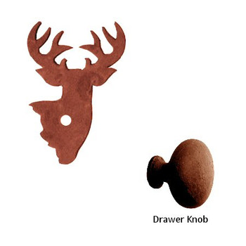 Mule Deer Metal Drawer Pull with Back Plate