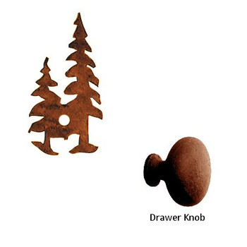 Pine Trees Metal Drawer Pull with Back Plate