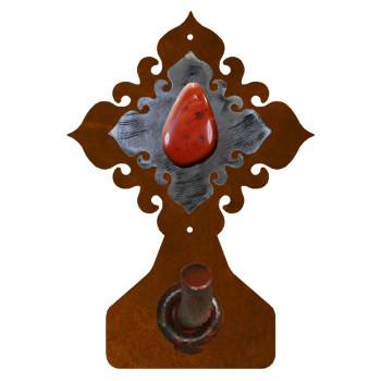 Red Jasper Stone Metal Robe Hook