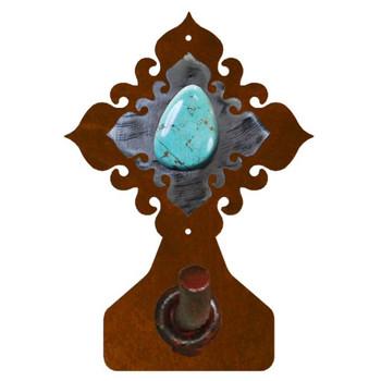 Turquoise Stone Metal Robe Hook