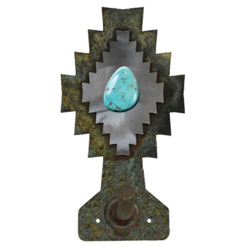 Burnished Desert Diamond with Turquoise Stone Metal Robe Hook