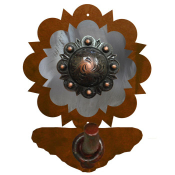 Burnished Round Copper Berry Concho Metal Robe Hook
