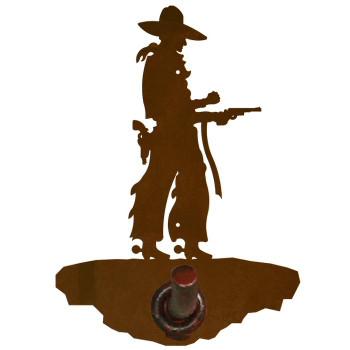 Cowboy with Pistol Metal Robe Hook