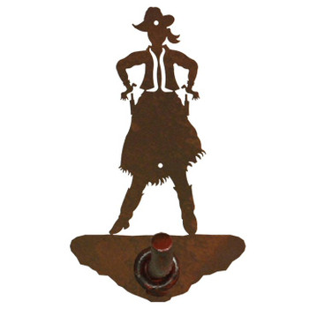Cowgirl Drawing Pistol Metal Robe Hook
