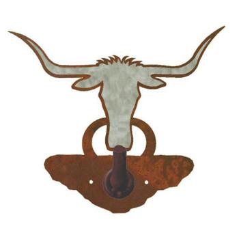 Burnished Longhorn Steer Metal Robe Hook