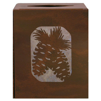 Pine Cone and Branches Metal Boutique Tissue Box Cover