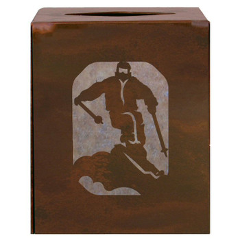 Skier Metal Boutique Tissue Box Cover