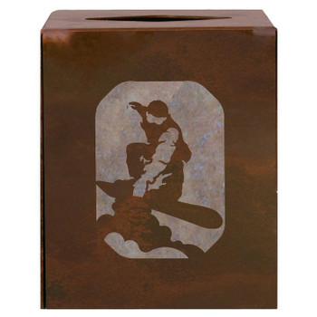 Snowboarder Metal Boutique Tissue Box Cover