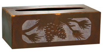 Pine Cone and Branches Metal Flat Tissue Box Cover