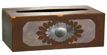 Sunburst Concho Metal Flat Tissue Box Cover
