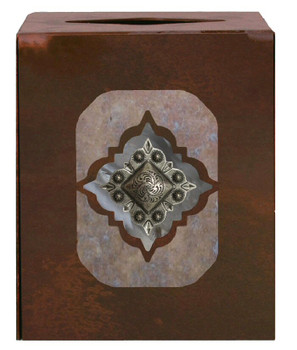 Diamond Silver Concho Metal Boutique Tissue Box Cover
