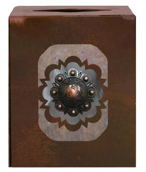 Round Copper Concho Metal Boutique Tissue Box Cover