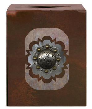 Round Silver Concho Metal Boutique Tissue Box Cover