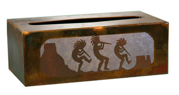 Kokopelli Desert Scene Metal Flat Tissue Box Cover