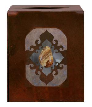 Burnished Picture Jasper Stone Metal Boutique Tissue Box Cover