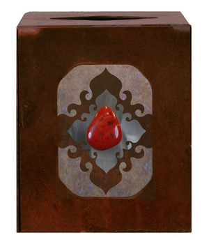 Burnished Red Jasper Stone Metal Boutique Tissue Box Cover