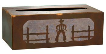 Cowboy Metal Flat Tissue Box Cover