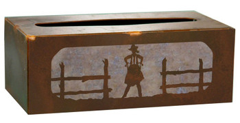 Cowgirl Metal Flat Tissue Box Cover