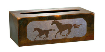 Running Wild Horses Metal Flat Tissue Box Cover