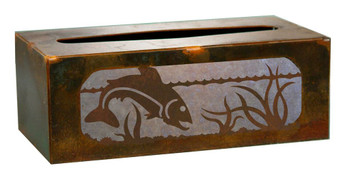 Trout Fish Metal Flat Tissue Box Cover