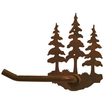 Triple Pine Trees Metal Toilet Paper Holder