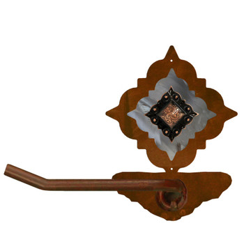 Burnished Diamond Copper Berry Concho Metal Toilet Paper Holder