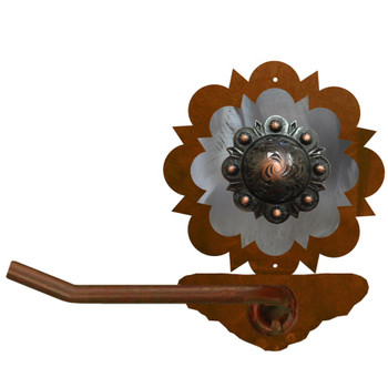 Burnished Round Copper Berry Concho Metal Toilet Paper Holder