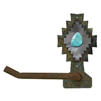 Burnished Desert Diamond w/ Turquoise Stone Metal Toilet Paper Holder