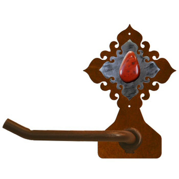 Red Jasper Stone Metal Toilet Paper Holder